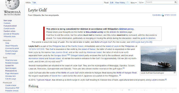 Attack of deletionists in the Leyte Gulf article in Wikipedia