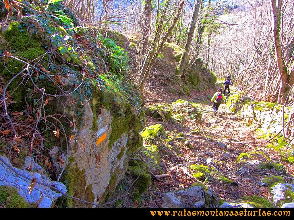Rutas Montaña Asturias de las Pinturas Rupestres de Fresnedo: Señal de pintura en el camino a Fresnedo