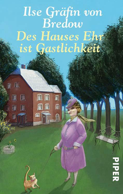 Buch Cover Illu für den Titel - Des Hauses ehr ist Gastlichkeit - von Ilse Gräfin von Bredow - Schrullige Dame in mittlerem alter steht in einem Parkähnlichen Garten und führt ihren Kater an der Leine Gassi