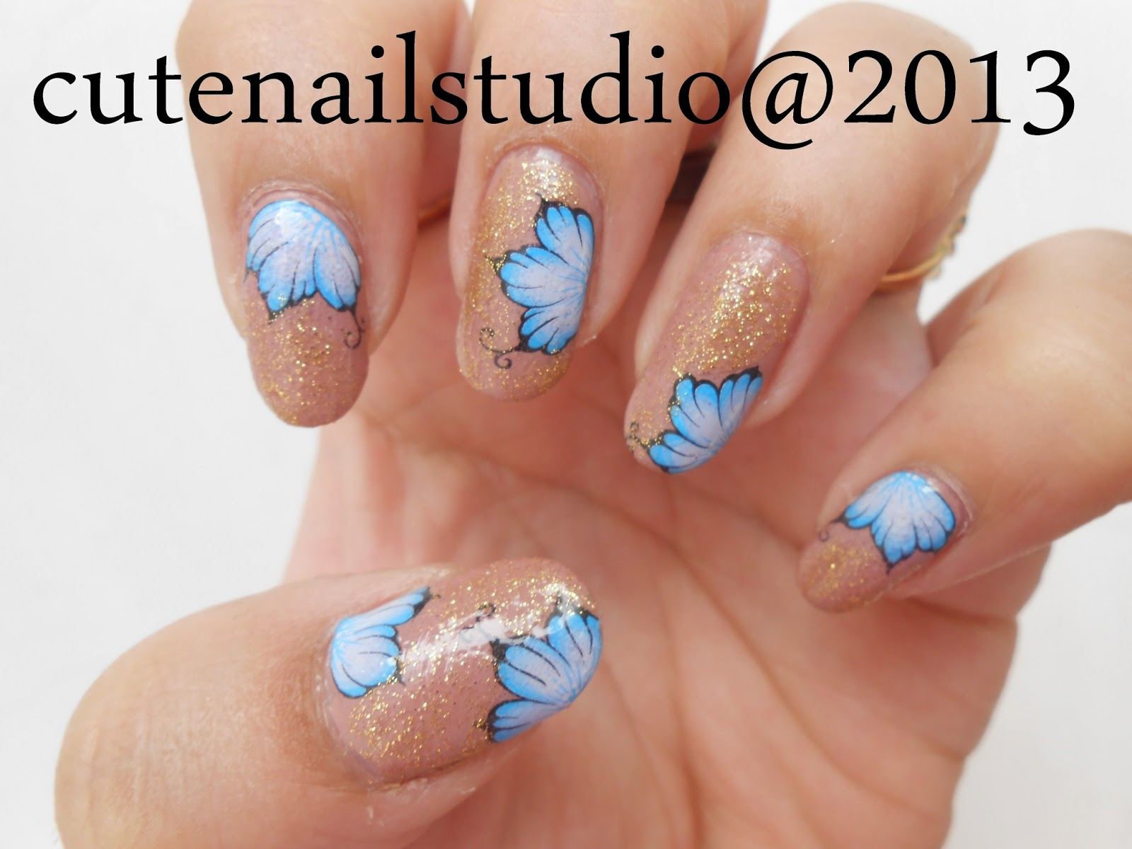 Nail Paint Faces All That Glittersand Then Added Blue Flower Water Decals Got Them From Bornpretty Storeto Get 10 Discount On Your Order Use