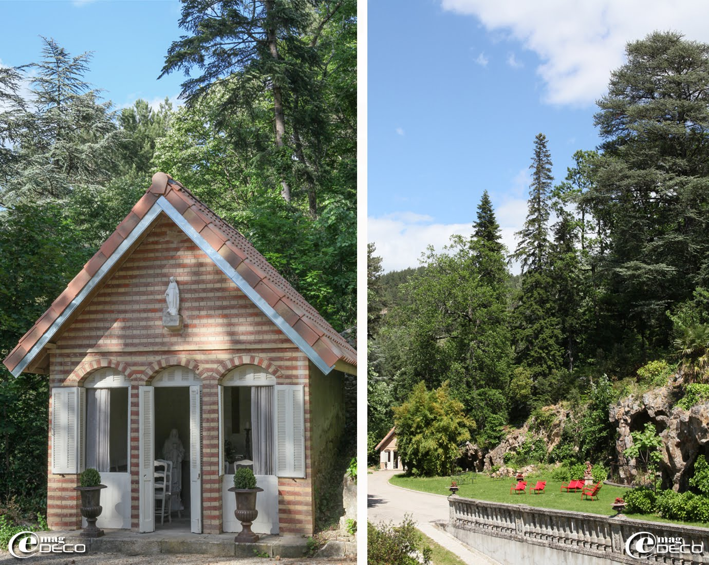 Petite chapelle en briques avec ses ouvertures en triptyque dans le parc du Château Clément à Vals-les-Bains