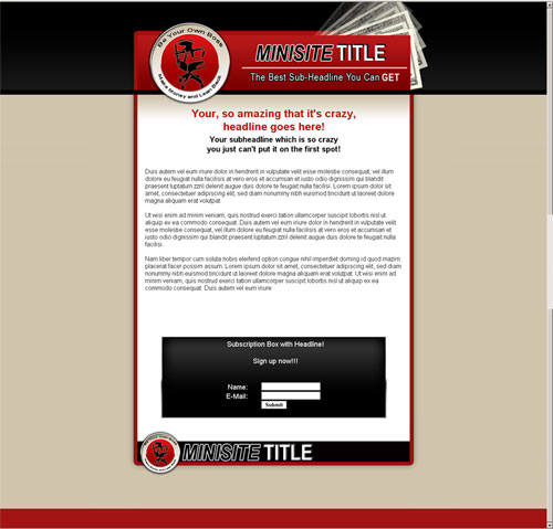 template mini-site web 1