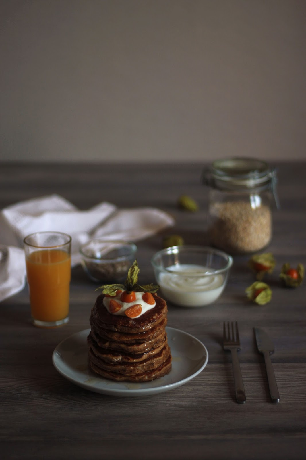 Sweet and Healthy Oatmeal Pancakes with Greek Yoghurt, Honey and Physalis -brought to you by Pancake Stories.