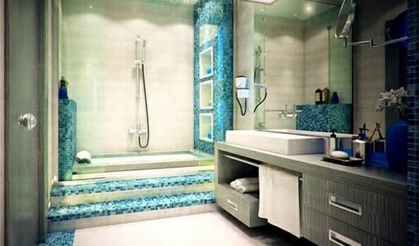 Muebles Para Baño Recubre: que el toque de color venga dado por el azul verdoso de la entrada