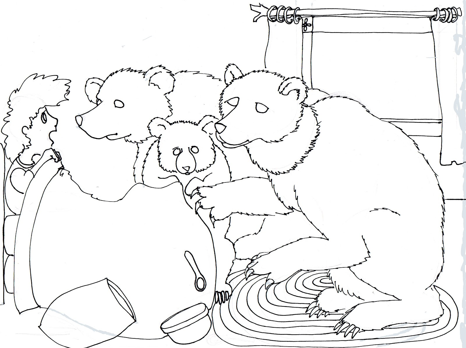 Goldilocks And The Three Bears Coloring Pages Goldilocks and the three ...