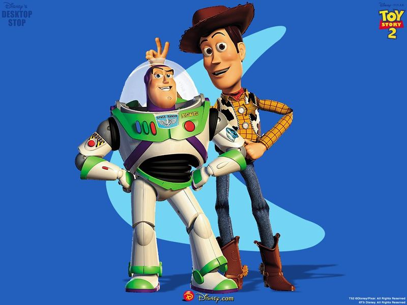 Buzz Lightyear and Woody in Toy Story 2