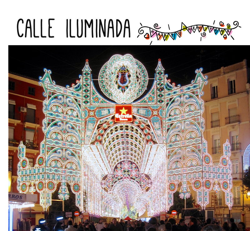 Calle iluminada Sueca-Literato Azorín Fallas 2010