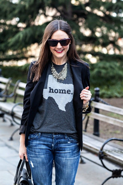 Black blazer, grey sweater, antique necklace, sunglasses and jeans for fall