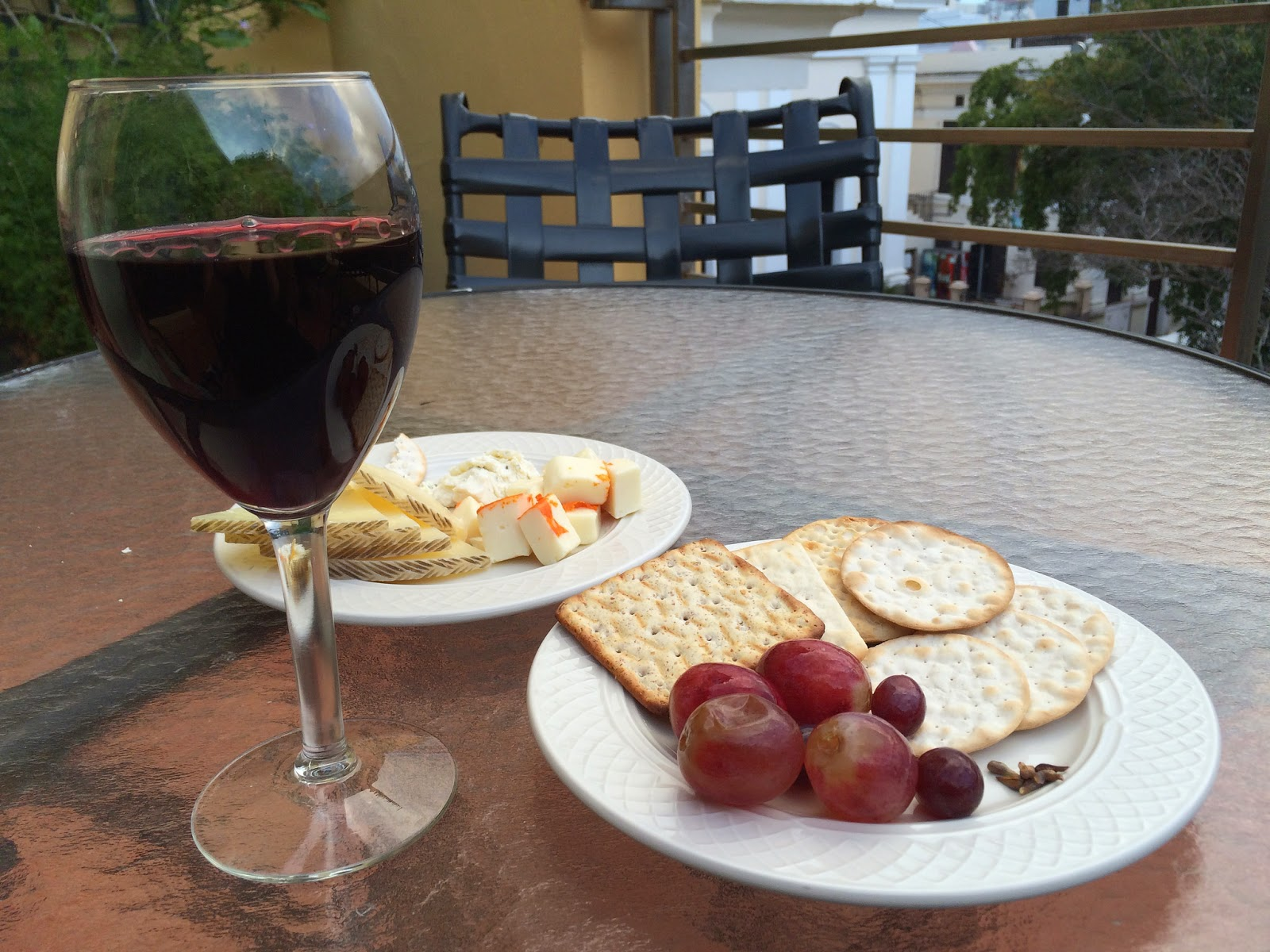 Wine and cheese reception on terrace of El Convento hotel