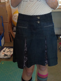 Refashion, Jean, Denim, Skirt, Pants, Box Pleat, Peekaboo Pleat,