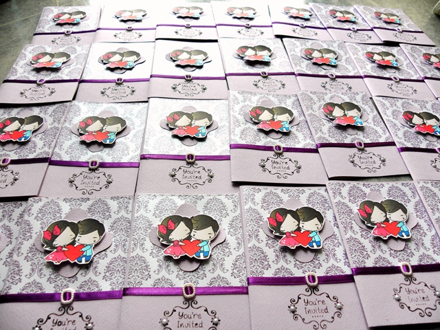 Cartoon Couple Purple Damask Wedding Invitation Cards, purple, classic fold, wedding cartoon invites, purple art card cartoon wedding cards, cartoon couple wedding cards, damask