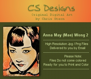 Anna May Mae Wong Silver Screen and Cinema Digital Stamp