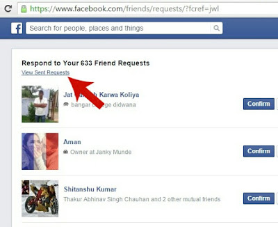 View Sent Friend Requests Button