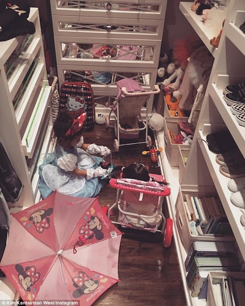 Kim Kardashian West shares sweet snap of Disney Obsessed North playing in her closet