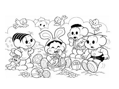 Desenho para Imprimir Turma da Monica na Páscoa