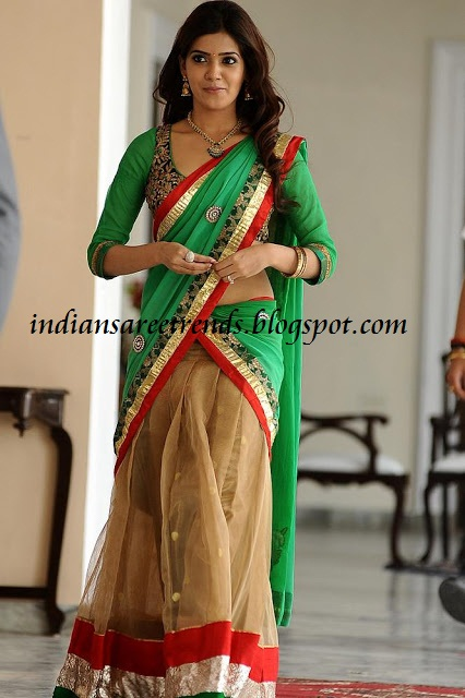 Langa Voni Designs http://indiansareetrends.blogspot.com/2012/11/samantha-in-designer-green-and-beige.html