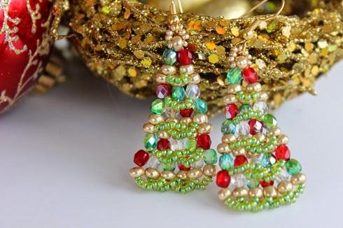 November 2015 The Beading Gem's Journal - Make Christmas Tree Earrings