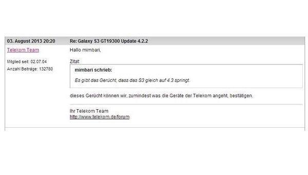 Samsung, Samsung Galaxy S3, Galaxy S3, Samsung S3, Android 4.3, Android 4.3 Jelly Bean