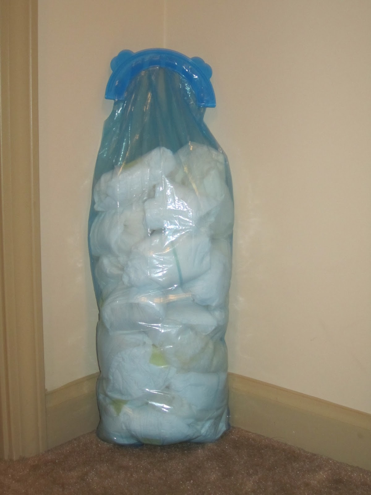 Our mini-mountain of diapers (shown in the Arm & Hammer Diaper Pail