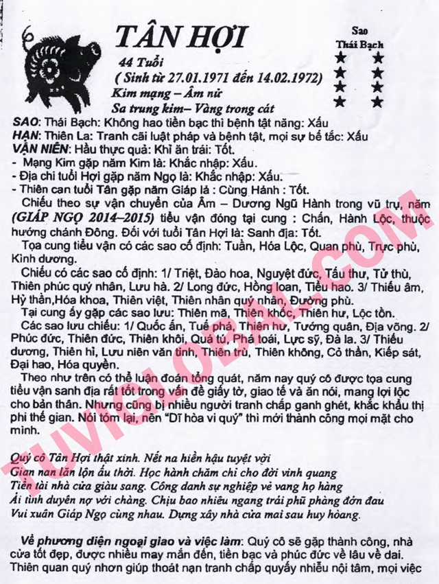 TỬ VI TUỔI TÂN HỢI 1971 NĂM 2014 GIÁP NGỌ - Blog Trần ...