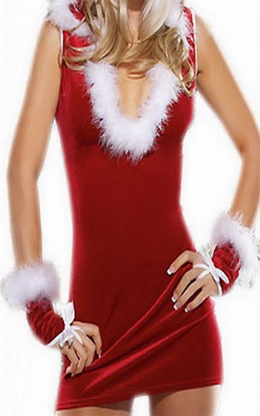 EOZY Women Red/White Dress and Hat, Gloves