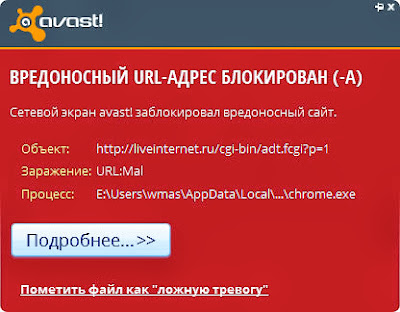 сообщение avast! о блокировке адреса URL:Mal