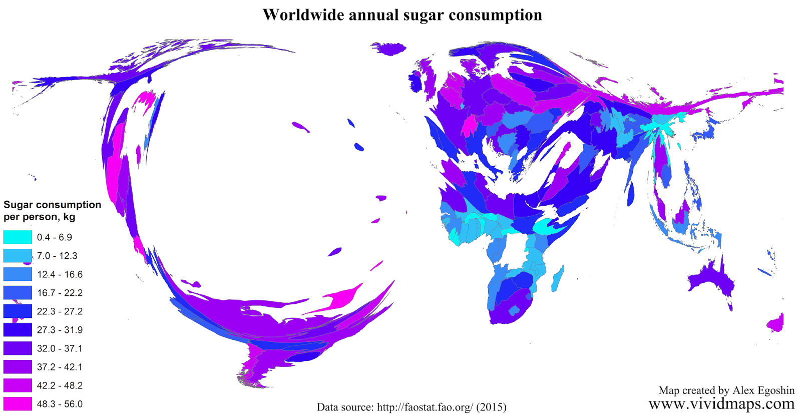 Worldwide annual sugar consumption