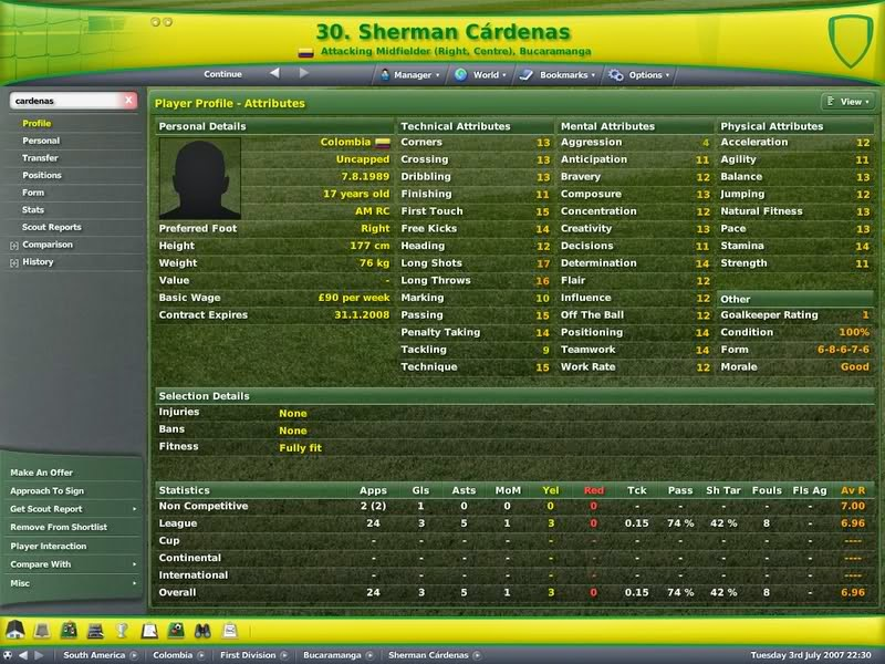 Football Manager, Championship Manager, FM. CM, Best XI, Best Attacking Midfielder, Best Midfielder, Best AMR, Best Right Winger, Sherman Cardenas