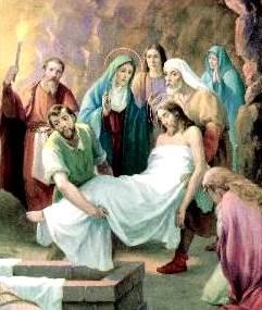 Jesús es dejado en la sepultura