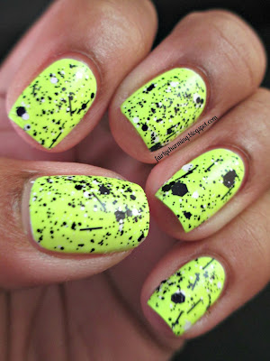 China Glaze Celtic Sun, Hard Candy Black Tie Optional, neon, highlighter, yellow, black and white glitter, simple, nails, nail art, nail design, mani
