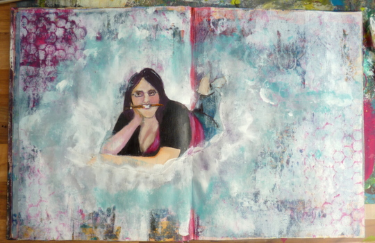 Whoopidooings: Carmen Wing - Start of a grungy Self Portrait journal page