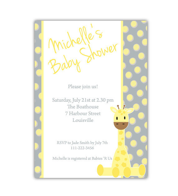 Rocajo Studio: Shop update: Giraffe Baby Shower Invitation