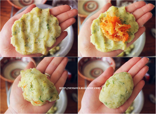 Постные картофельные зразы с капустой