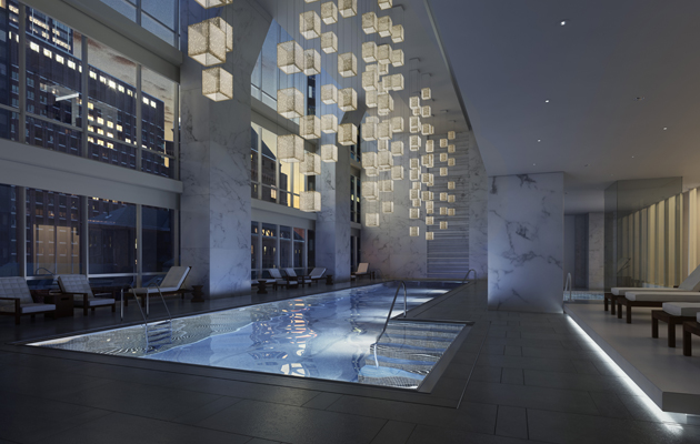 Rendering of the pool inside of One 57 by Christian de Portzamparc