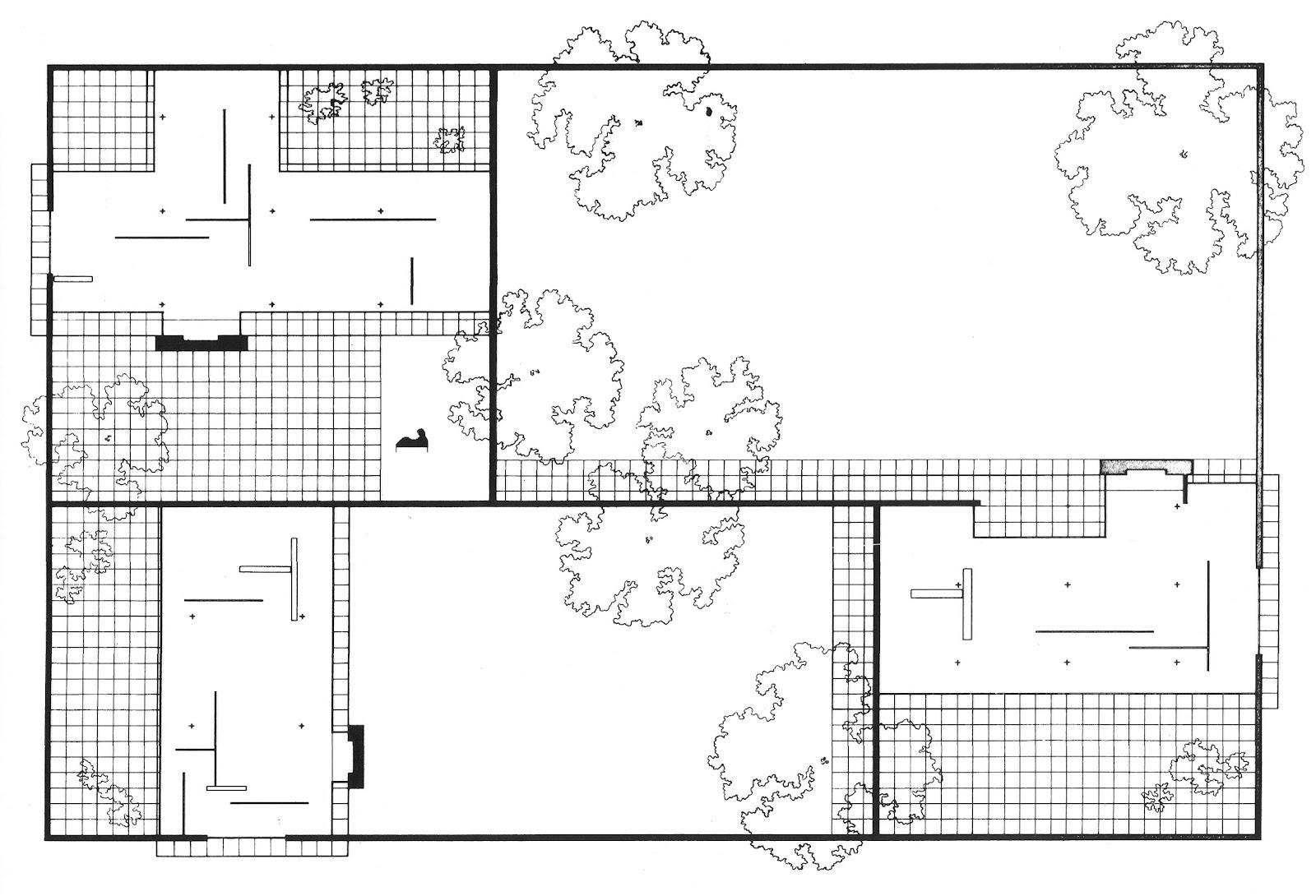 casa tres patio mies van der rohe: