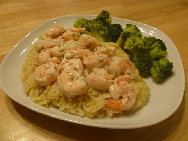 That Means We Get Pie!: Shrimp Scampi over Orzo Pasta