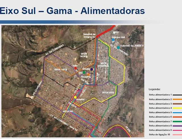 Mapa das linhas do VLP dentro do Gama DF