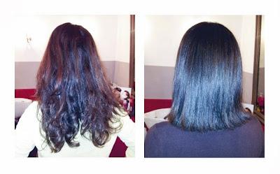 Michelle, de dos, avant et après sa visite au  Studio 54, coupe et coiffure réalisée par Eddy, coiffeur  - visagiste.