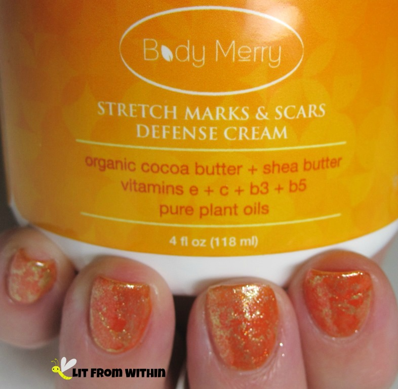 L'Oreal Coral Starfish, a bright orange with golden shimmer, and Rica's The Golden Egg with the 'saran wrap' technique