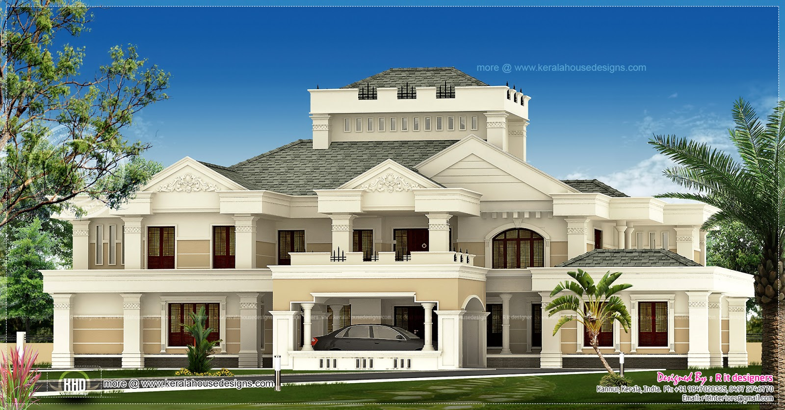 Super luxury kerala house exterior house design plans for Luxury home designers
