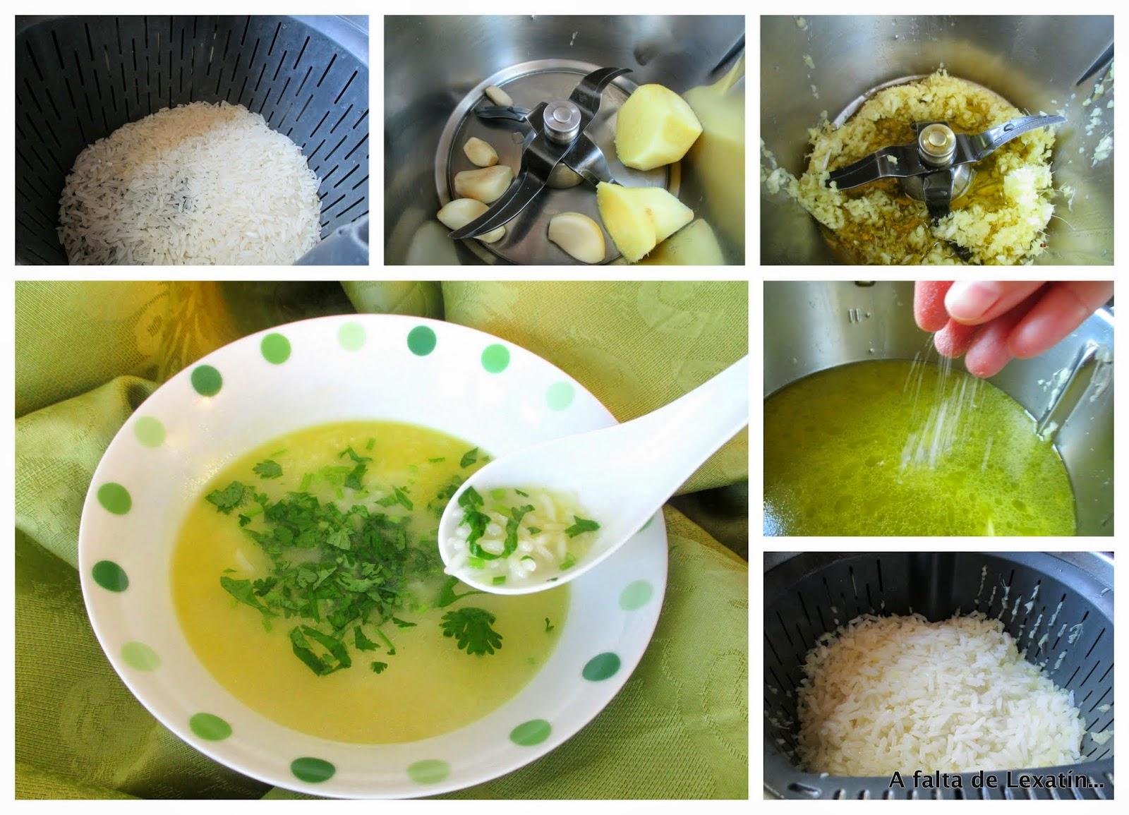 Sopa de arroz y jengibre con y sin Thermomix