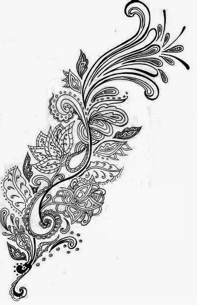 Feather Mehandi designs tattoo stencil