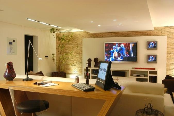 Blog estilo d cor escrit rio na sala for Sala de estar pequena con escritorio