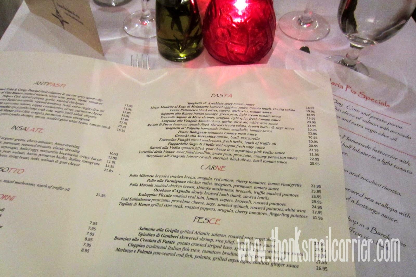 Maria Pia menu