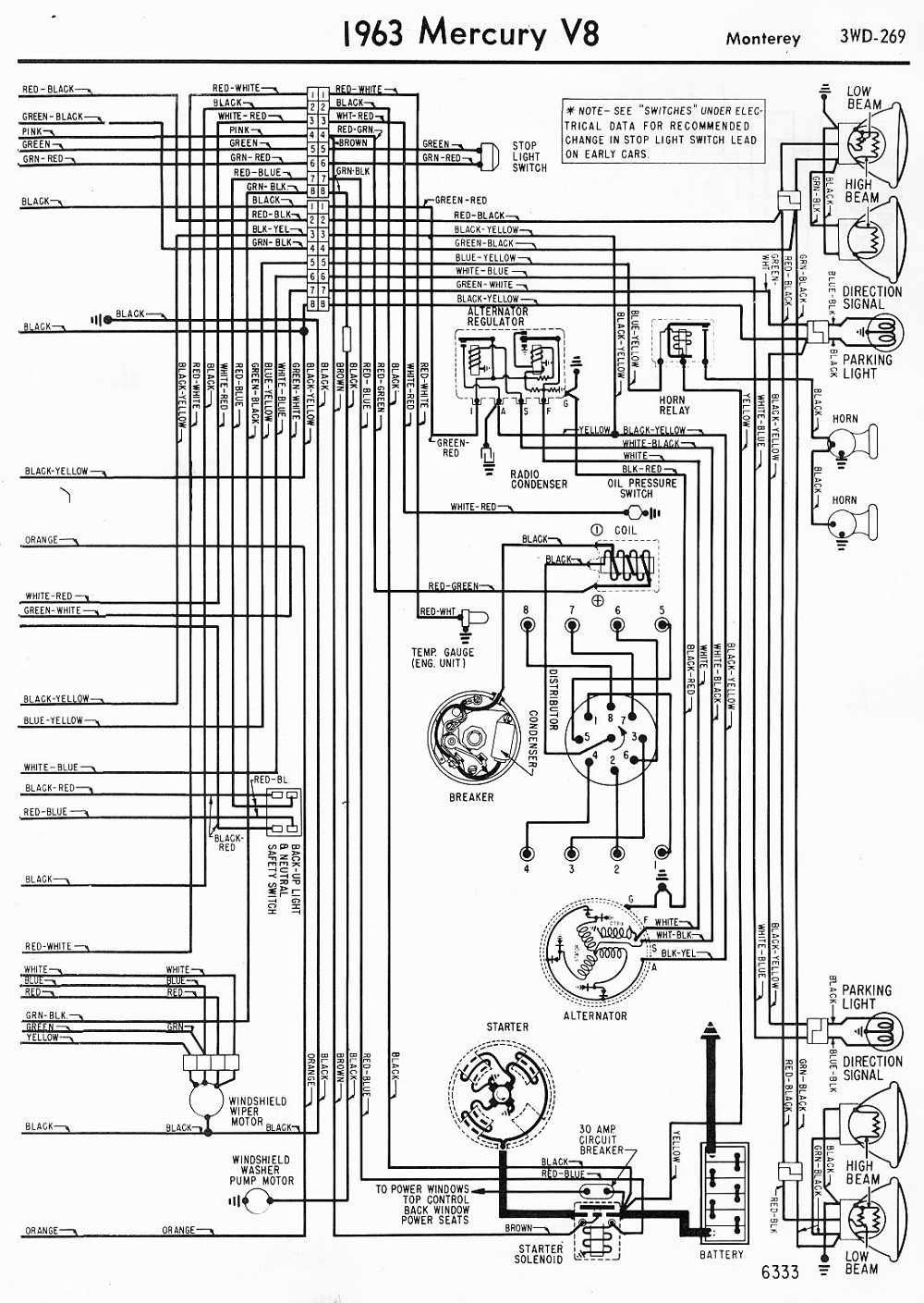 Mercury V8 Monterey 1963 Wiring Diagram Right Side Part