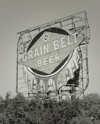 Sepia toned Grain Belt beer sign in Minneapolis Minnesota