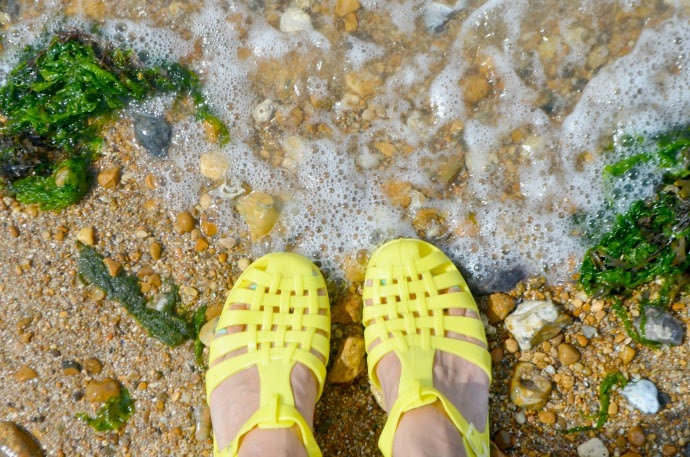 jelly shoes for adults, whitstable beach