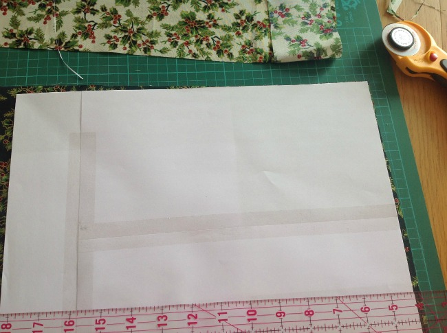 template place in corner of fabric so no wastage