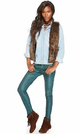 Riachuelo coleção inverno colete de pelos camisa jeans calça couro azul