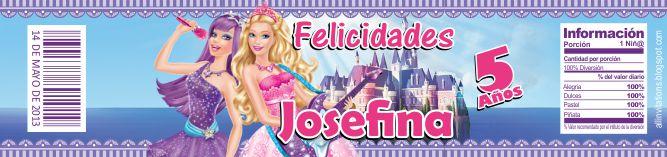 etiqueta botella barbie popstar all invitations